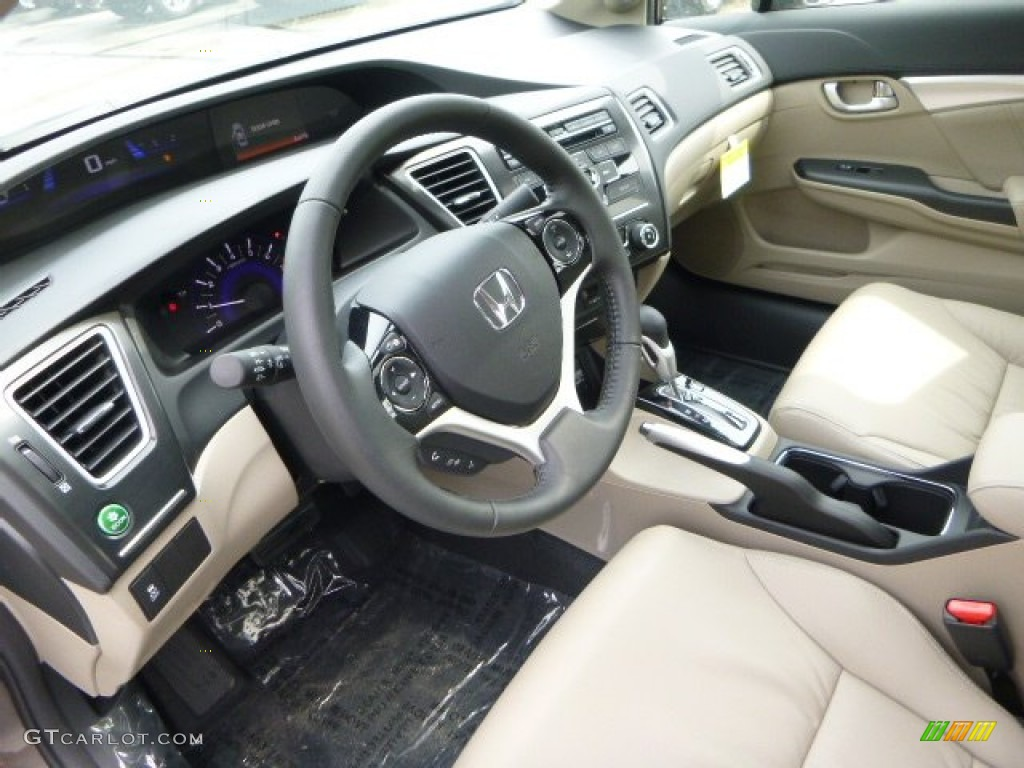 Beige Interior 2013 Honda Civic Ex L Sedan Photo 80938476