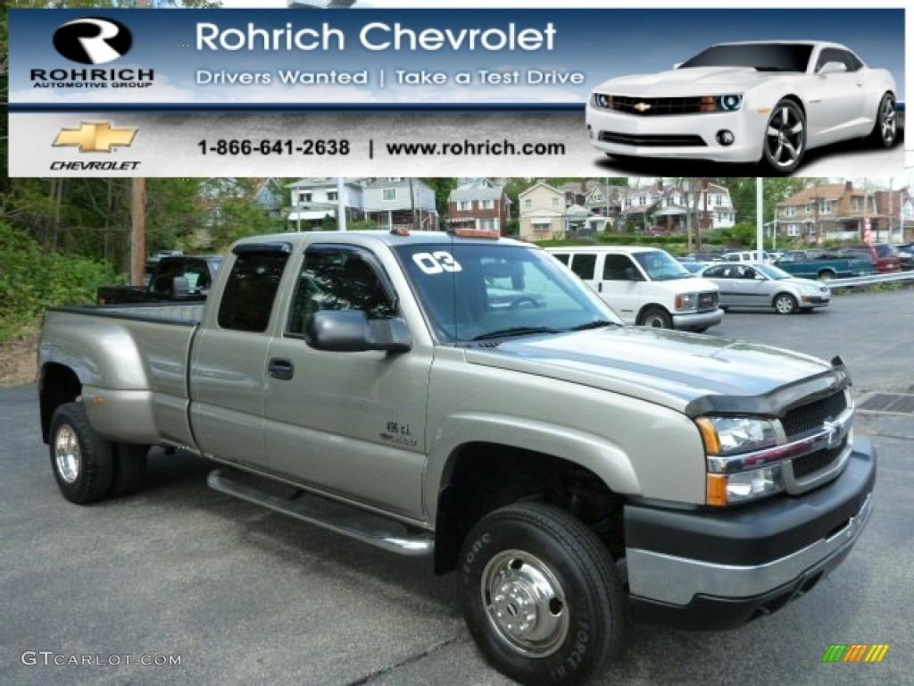 2003 Silverado 3500 LS Extended Cab 4x4 Dually - Light Pewter Metallic / Dark Charcoal photo #1