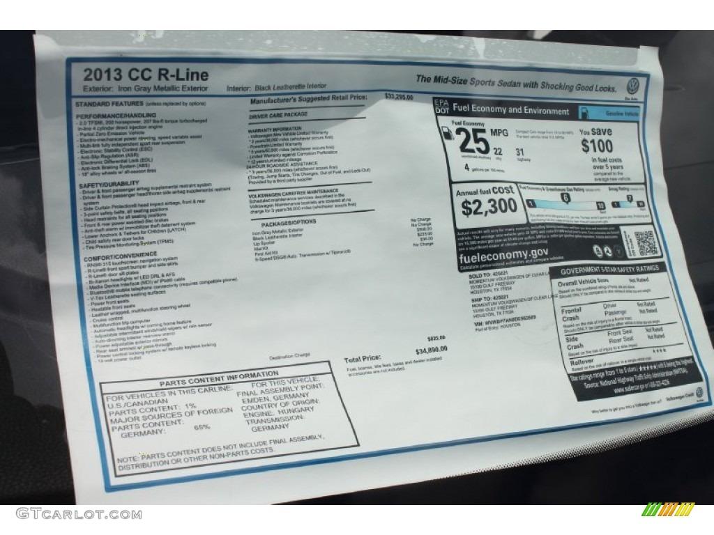 2013 volkswagen cc sport plus window sticker photos