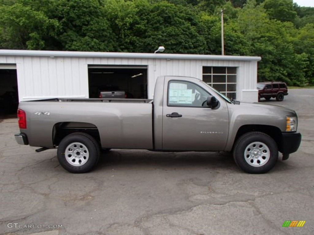 2013 Silverado 1500 Work Truck Regular Cab 4x4 - Mocha Steel Metallic / Dark Titanium photo #1