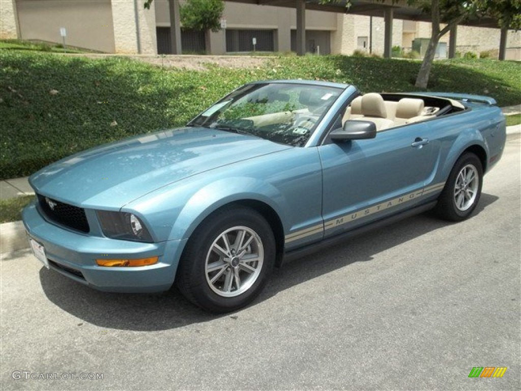 windveil blue metallic 2005 ford mustang v6 deluxe convertible exterior photo 81598902. Black Bedroom Furniture Sets. Home Design Ideas