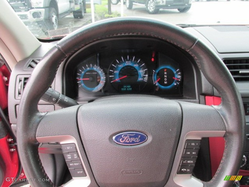 2010 Ford Fusion Sport Charcoal Black Red Steering Wheel Photo 81611175