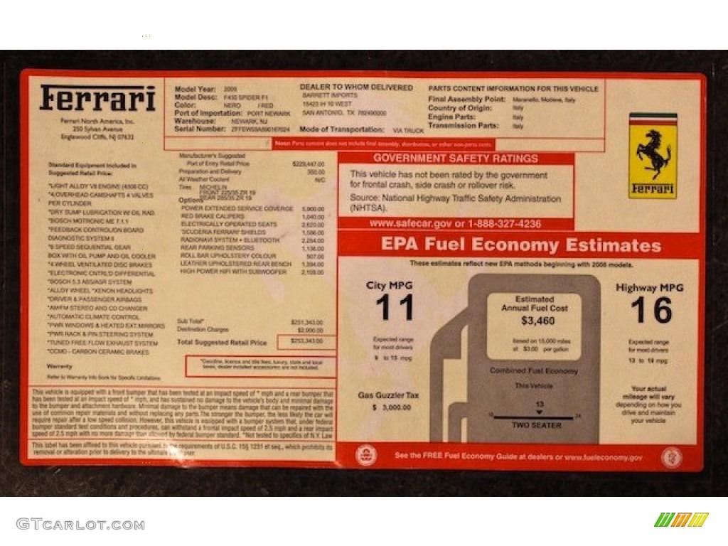 2009 Ferrari F430 Spider F1 Window Sticker Photos