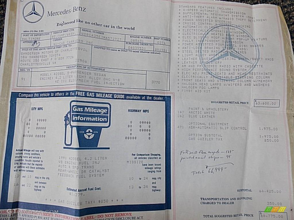 1991 Mercedes Benz S Class 420 Sel Window Sticker Photo