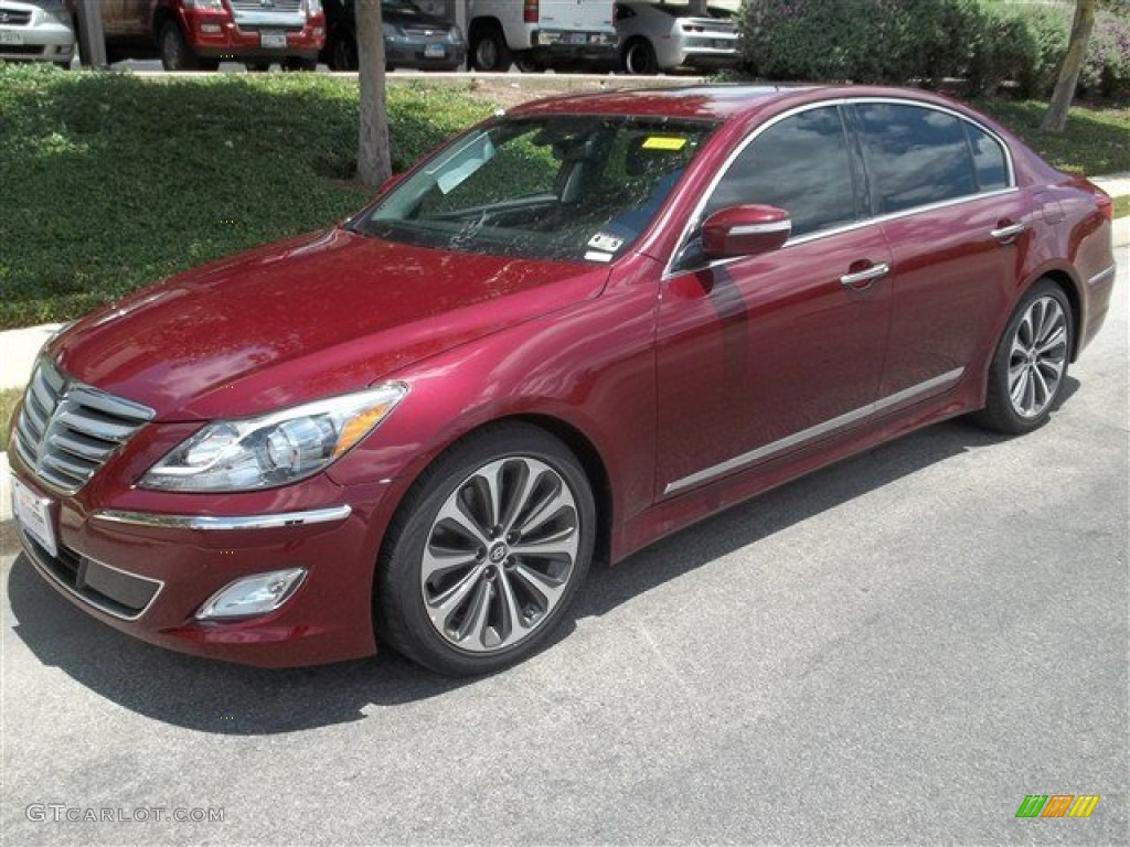 2013 cabernet red pearl hyundai genesis 5 0 r spec sedan 82098185 car color. Black Bedroom Furniture Sets. Home Design Ideas