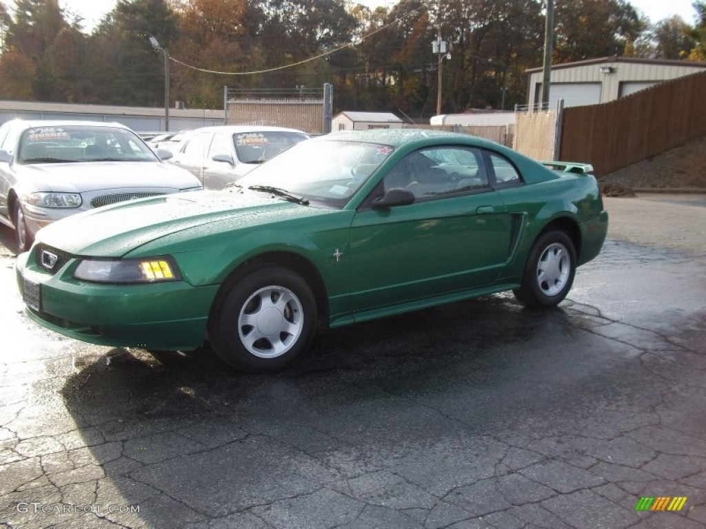 2001 Mustang V6 Coupe - Electric Green Metallic / Medium Parchment photo #2