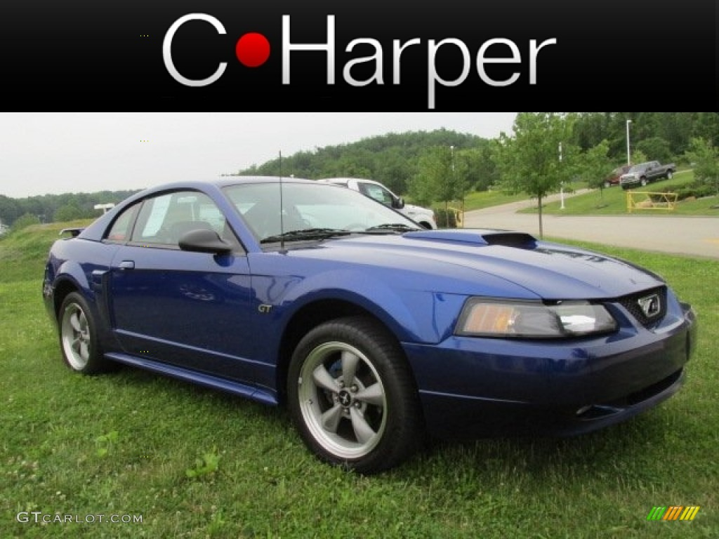 2002 Mustang GT Coupe - Sonic Blue Metallic / Dark Charcoal photo #1