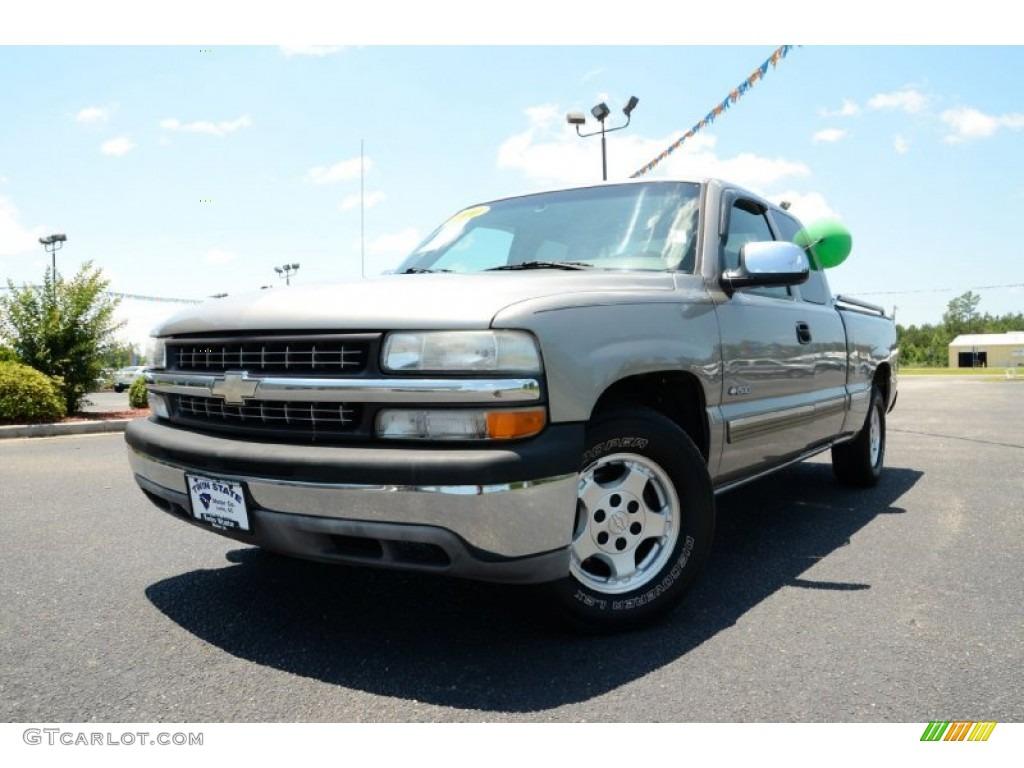 2000 Silverado 1500 LS Extended Cab - Light Pewter Metallic / Medium Oak photo #1