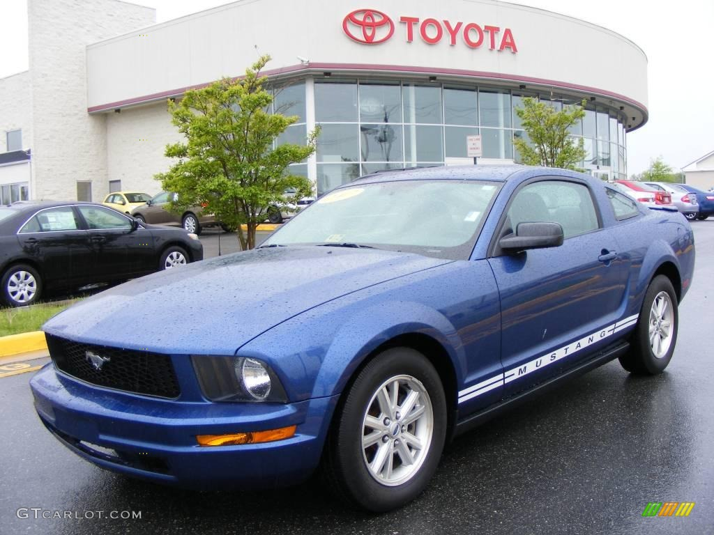 2007 Mustang V6 Deluxe Coupe - Vista Blue Metallic / Light Graphite photo #1