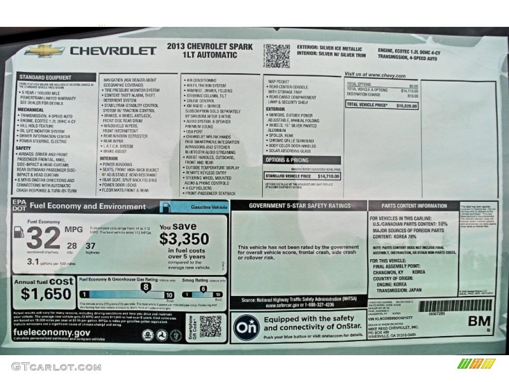 2013 Chevrolet Spark LT Window Sticker Photos | GTCarLot.com