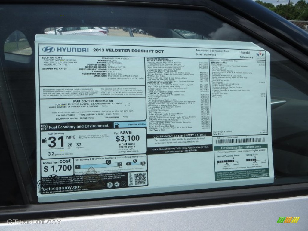 2013 Hyundai Veloster Standard Veloster Model Window Sticker