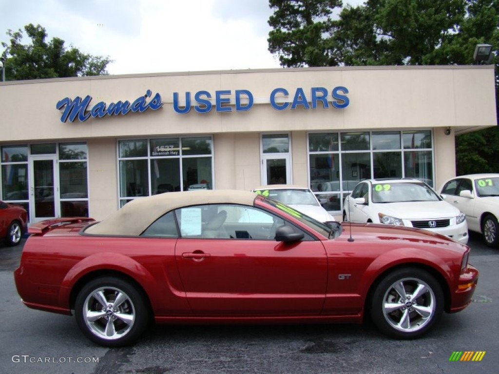 2006 Mustang GT Premium Convertible - Redfire Metallic / Light Parchment photo #1
