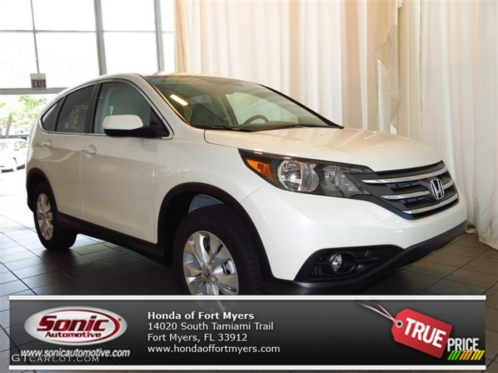 2013 CR-V EX - White Diamond Pearl / Beige photo #1