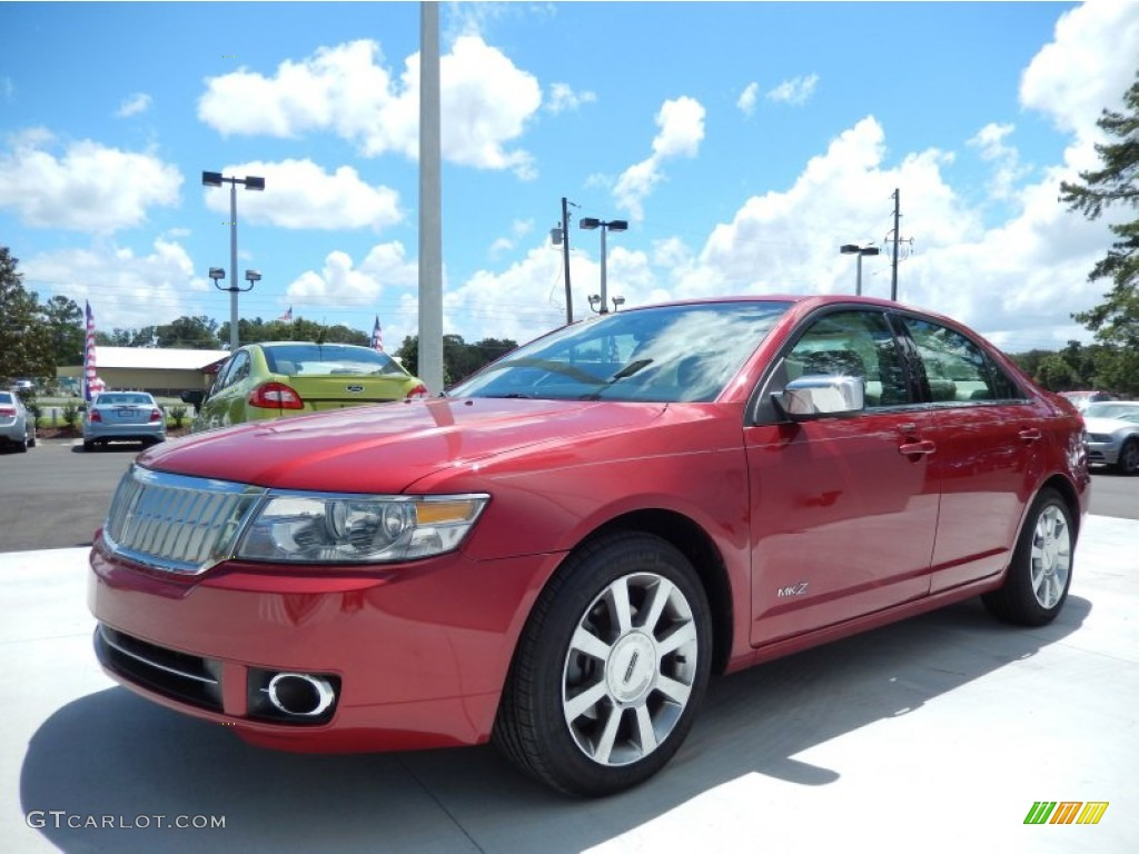 2008 MKZ Sedan - Vivid Red Metallic / Light Stone photo #1