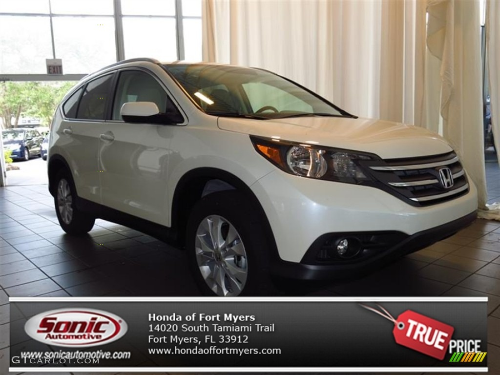 2013 CR-V EX-L - White Diamond Pearl / Beige photo #1