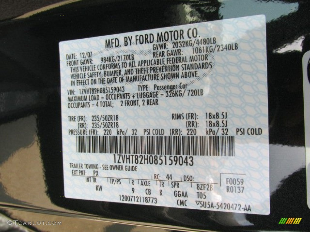 2008 Ford Mustang Bullitt Coupe Color Code Photos  GTCarLotcom