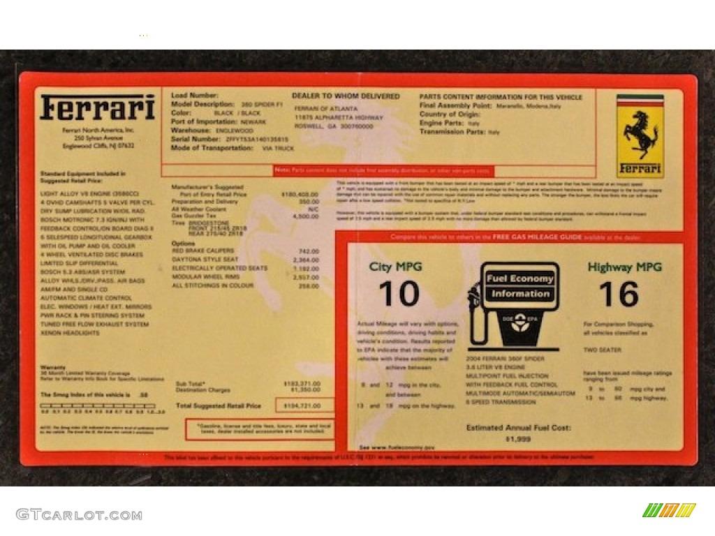 2004 Ferrari 360 Spider F1 Window Sticker Photos
