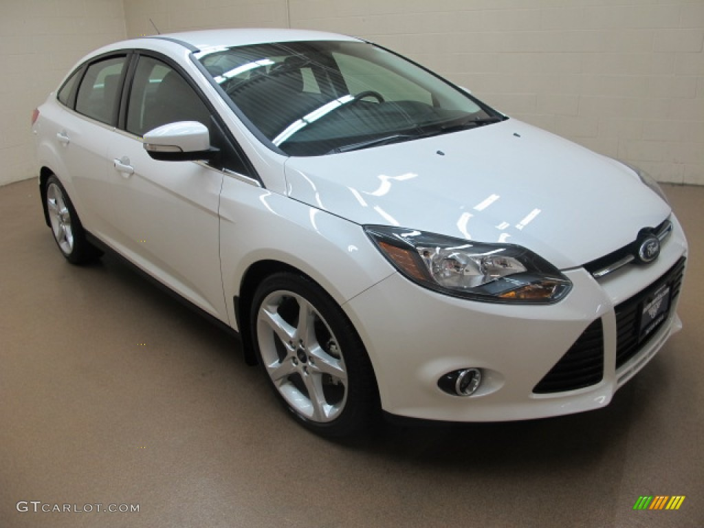 2012 Focus Titanium Sedan - White Platinum Tricoat Metallic / Charcoal Black photo #1