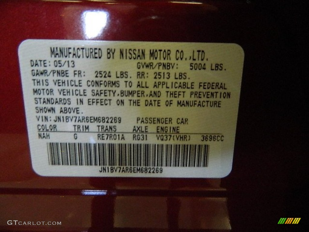 2014 Q Color Code NAH for Venetian Ruby Photo #84153450