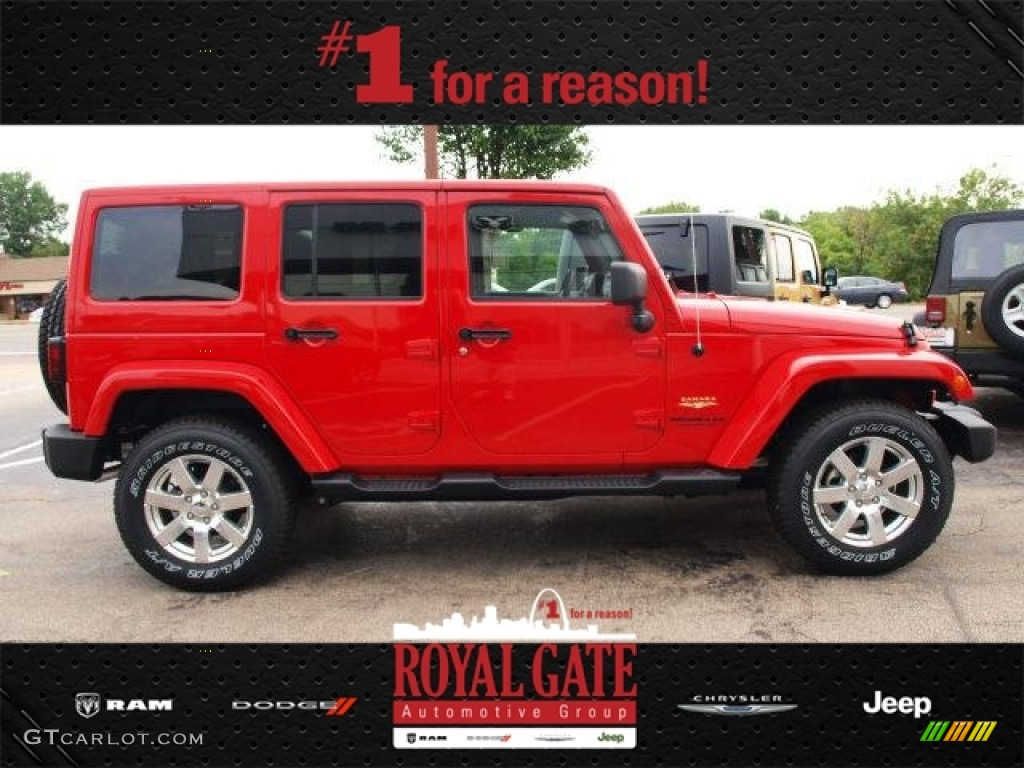 2013 Flame Red Jeep Wrangler Unlimited Sahara 4x4