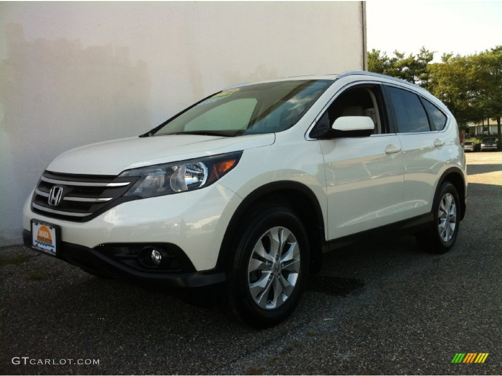 2012 CR-V EX-L 4WD - White Diamond Pearl / Beige photo #1