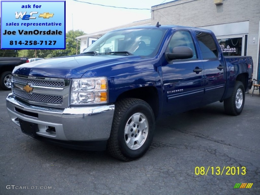 2013 Silverado 1500 LT Crew Cab 4x4 - Blue Topaz Metallic / Ebony photo #1