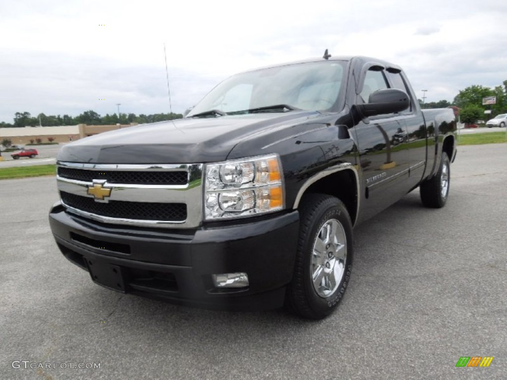 2011 Silverado 1500 LTZ Extended Cab - Black / Dark Cashmere/Light Cashmere photo #1