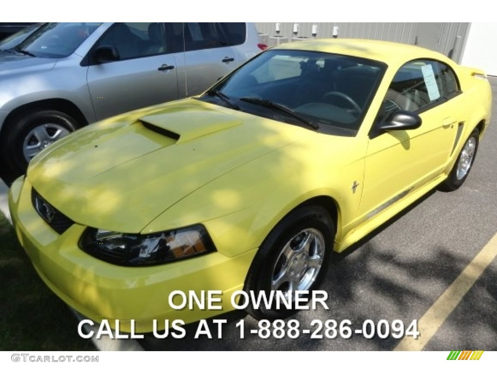 2003 Mustang V6 Coupe - Zinc Yellow / Dark Charcoal photo #1