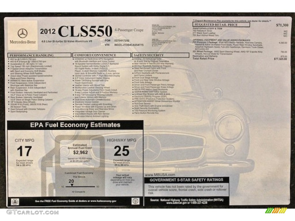 2012 mercedes benz cls 550 coupe window sticker photos for Mercedes benz window sticker