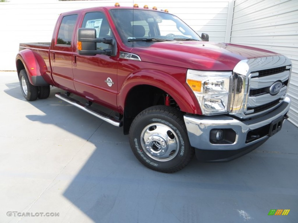 2014 f350 super duty lariat crew cab 4x4 dually ruby red metallic black photo