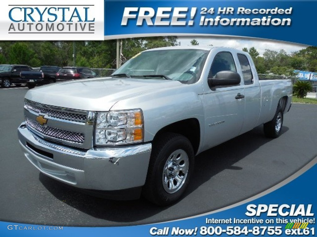 2013 Silverado 1500 Work Truck Extended Cab - Silver Ice Metallic / Dark Titanium photo #1