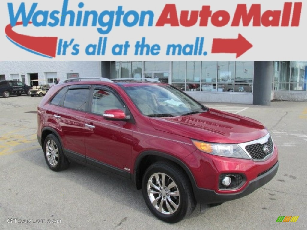 2011 Sorento EX V6 AWD - Spicy Red / Beige photo #1