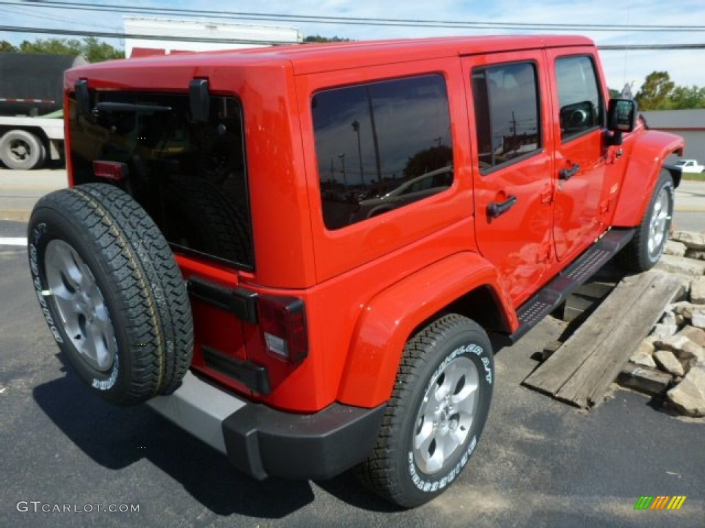 Flame Red 2014 Jeep Wrangler Unlimited Sahara 4x4 Exterior Photo 85880734