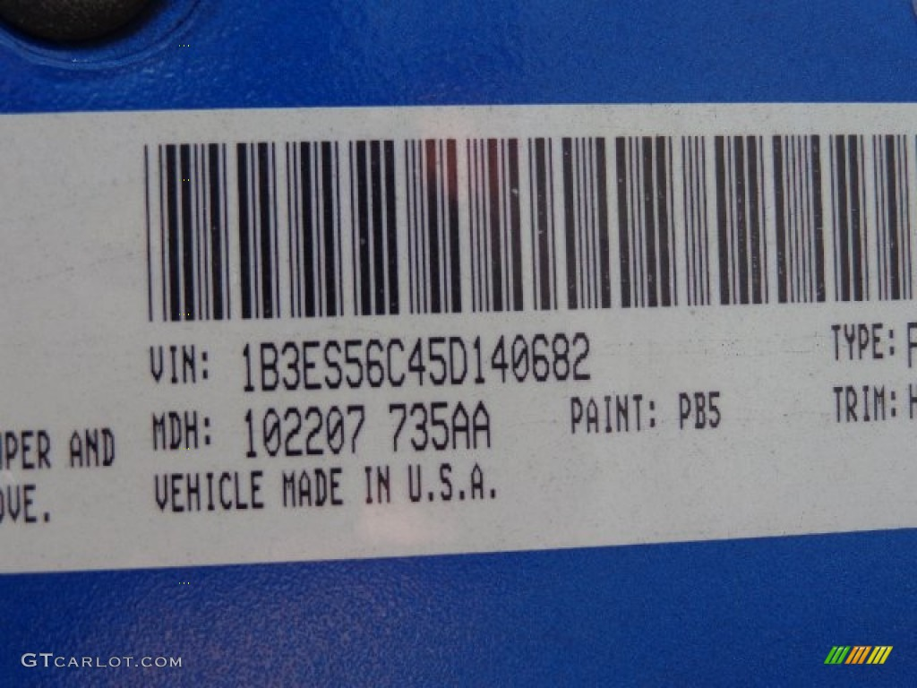 2005 Neon Color Code PB5 for Electric Blue Pearlcoat Photo #86144928 ...