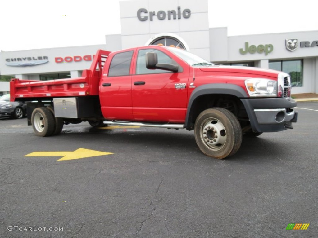 2008 Flame Red Dodge Ram 4500 Hd Slt Crew Cab 4x4 Dump Truck