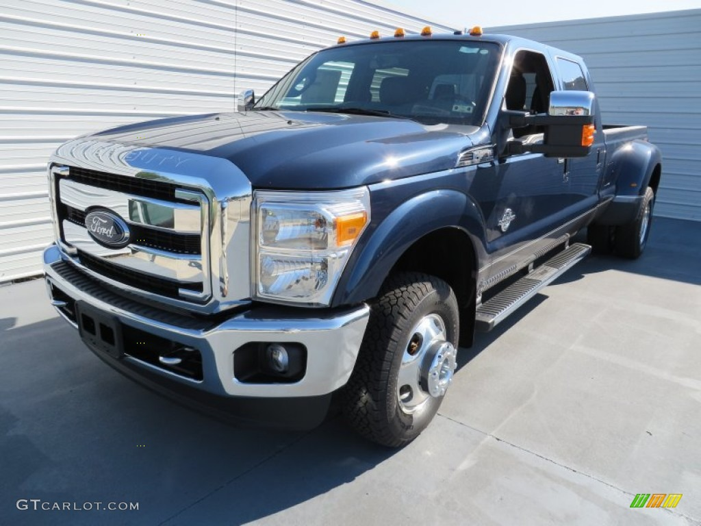 2014 f350 super duty lariat crew cab 4x4 dually blue jeans metallic black photo