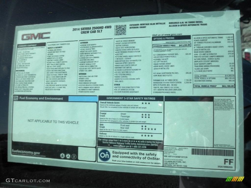 2014 GMC Sierra 2500HD SLT Crew Cab 4x4 Window Sticker ...