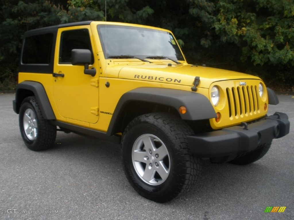 2011 Wrangler Rubicon 4x4 - Detonator Yellow / Black photo #1