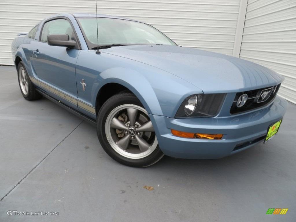 2006 Mustang V6 Premium Coupe - Windveil Blue Metallic / Light Parchment photo #1