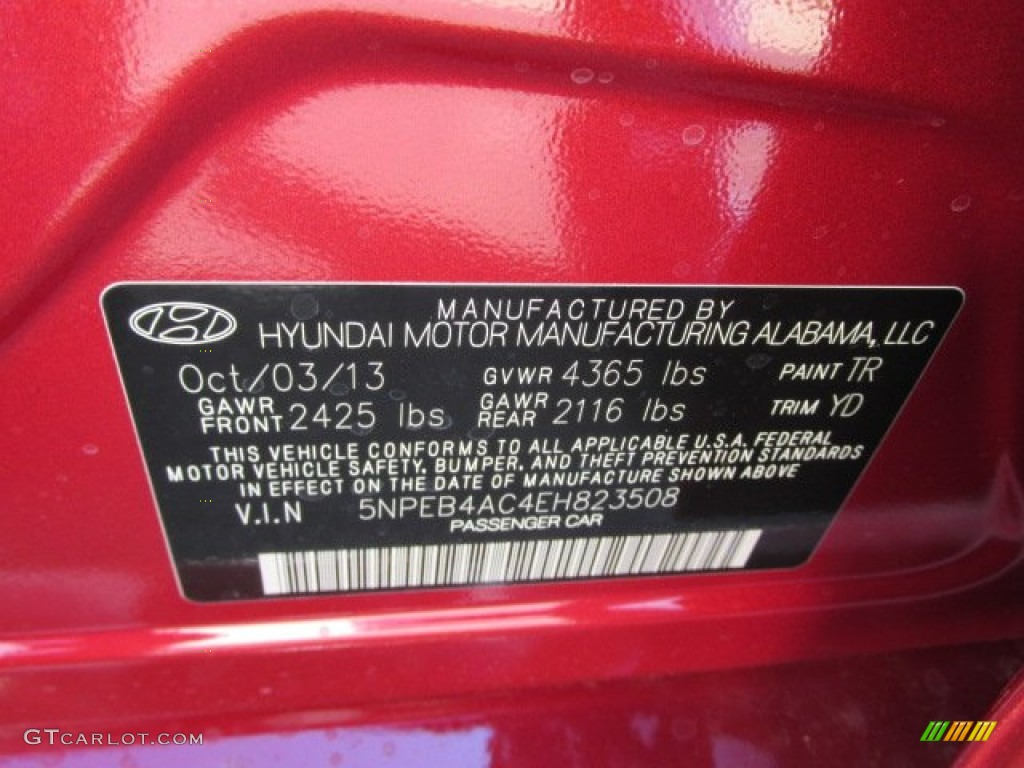 2014 Sonata Color Code Tr For Venetian Red Photo 87115710