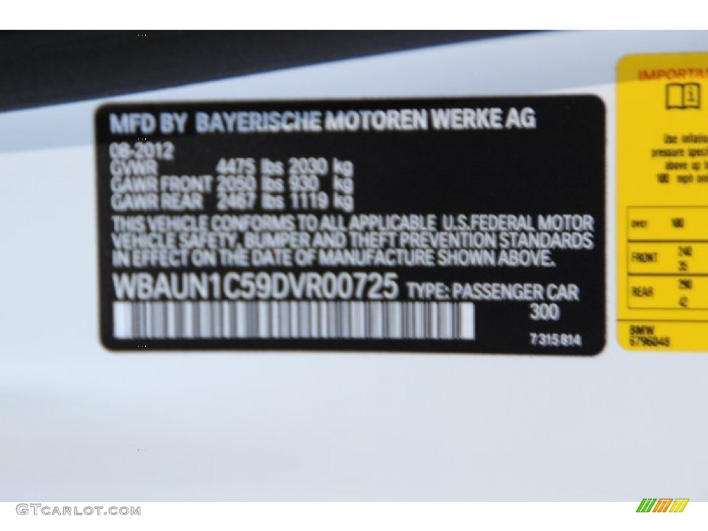 2013 Bmw 1 Series 128i Convertible Color Code Photos