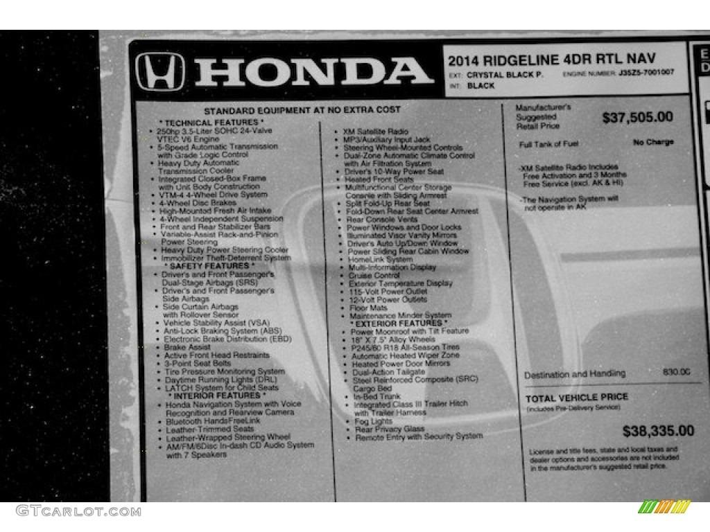 2014 Honda Ridgeline RTL Window Sticker Photo #87231750 | GTCarLot.com