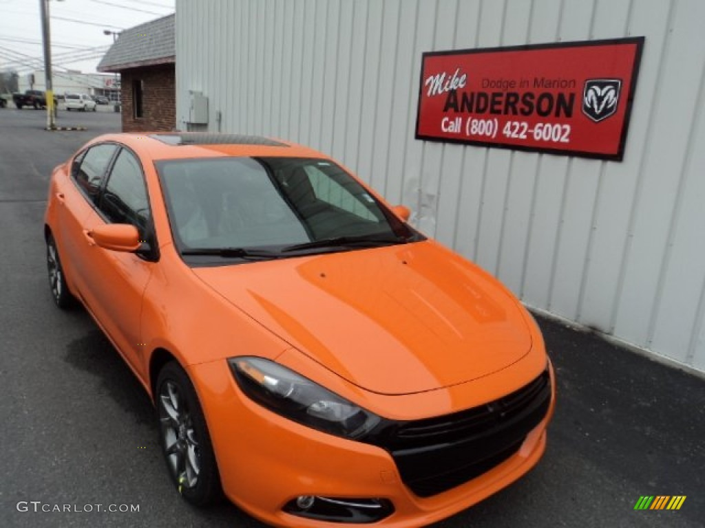 2014 Dart SXT - Header Orange / Black/Light Tungsten photo #1