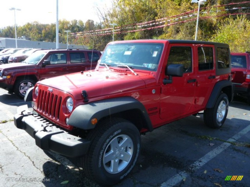 2014 Flame Red Jeep Wrangler Unlimited Sport 4x4 87493907 Car Color Galleries