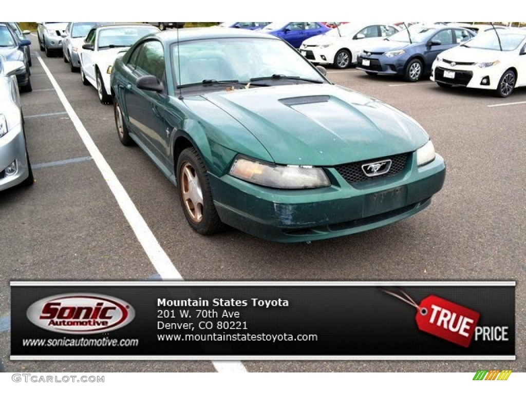 2002 Mustang V6 Coupe - Electric Green Metallic / Dark Charcoal photo #1