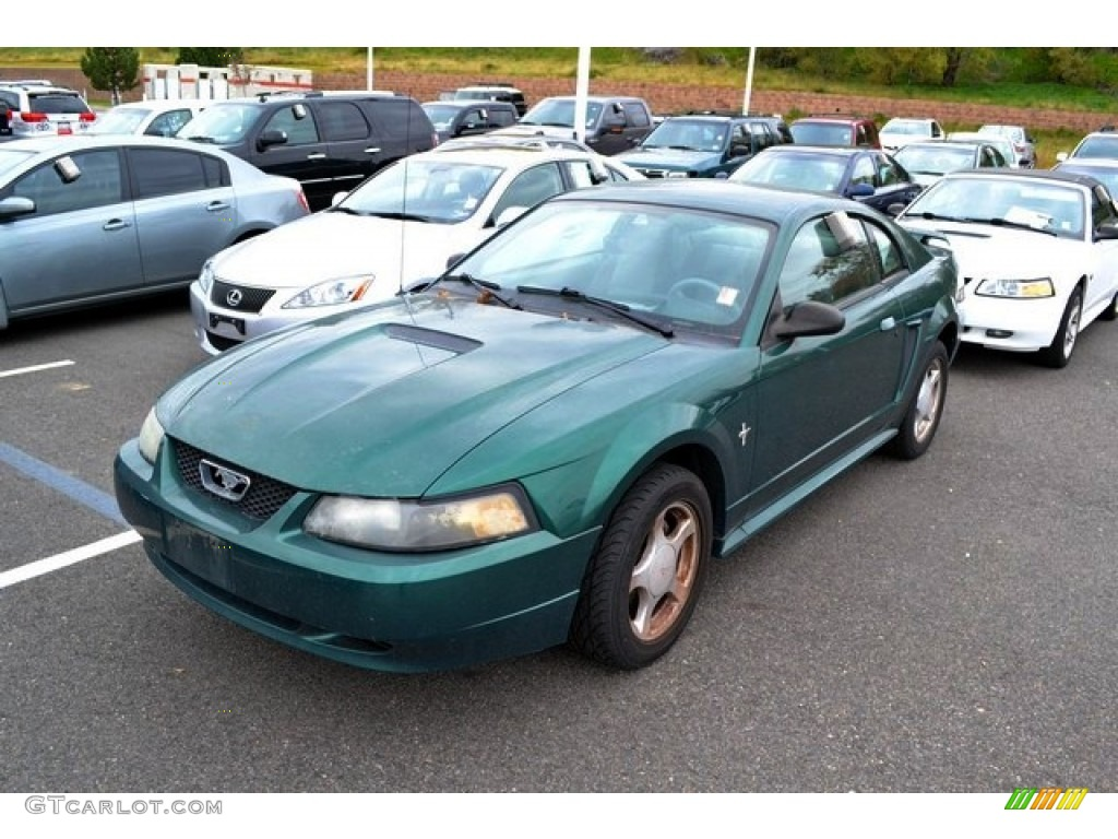 2002 Mustang V6 Coupe - Electric Green Metallic / Dark Charcoal photo #4