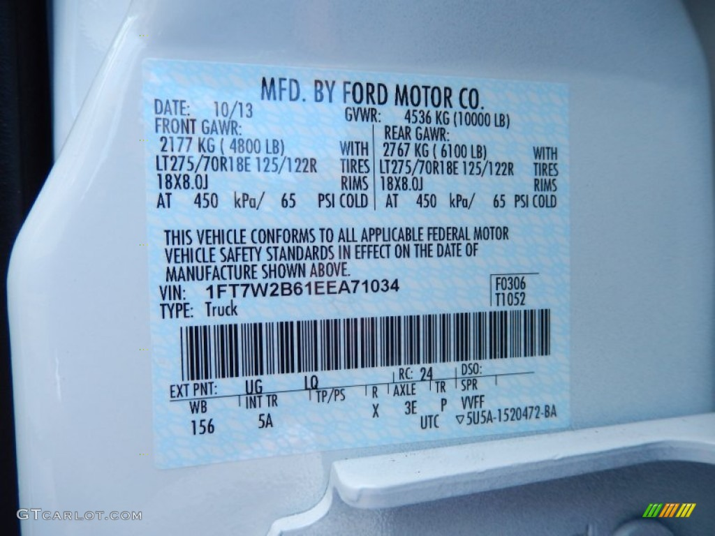 2014 f250 super duty color code ug for white platinum tri