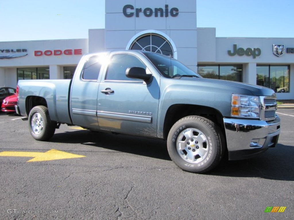 2012 Silverado 1500 LT Extended Cab - Blue Granite Metallic / Ebony photo #1