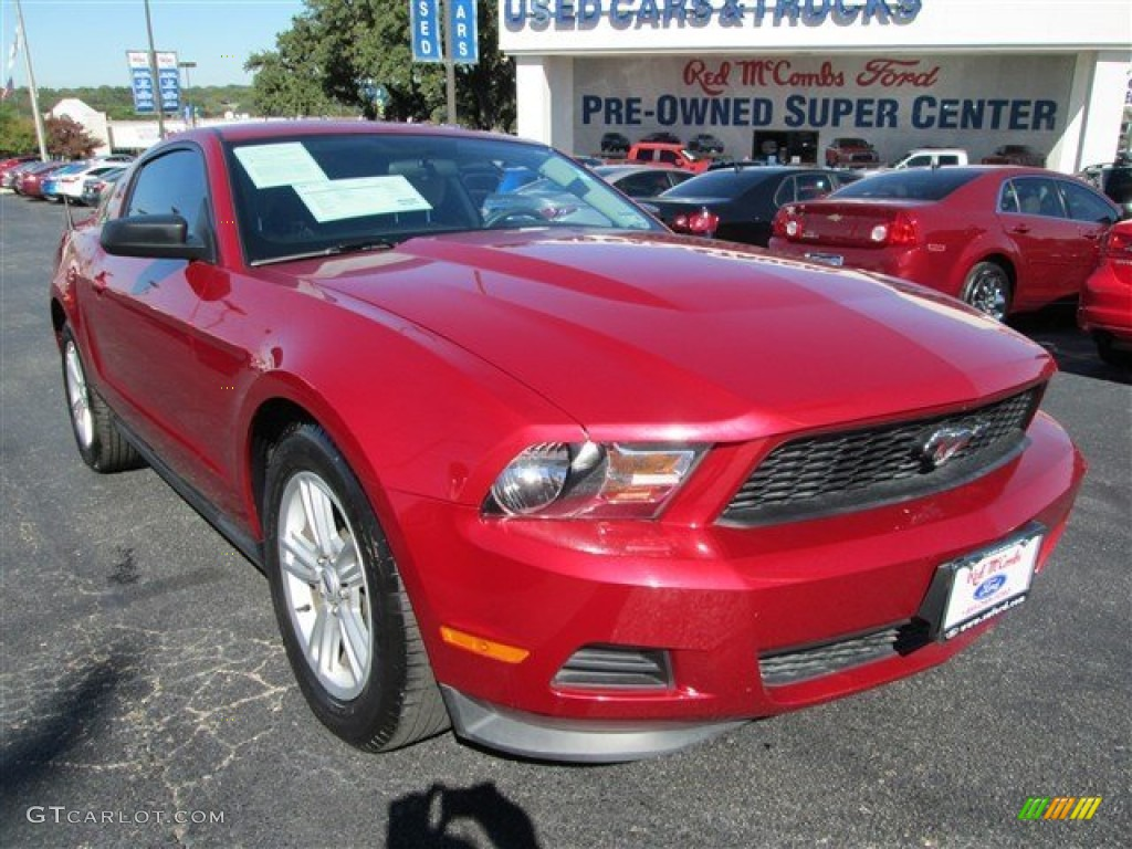 2011 Mustang V6 Coupe - Red Candy Metallic / Saddle photo #1