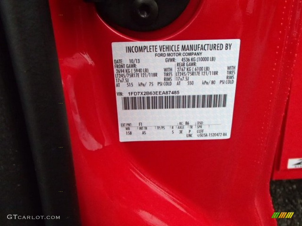 2014 f250 super duty color code f1 for vermillion red photo 88208979
